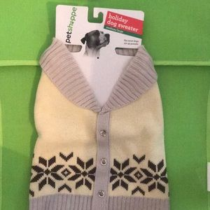 PET SHOPPE Dog Winter Sweater Cream Gray Med/Larg